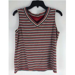 vintage look v neck striped tank shirt blouse